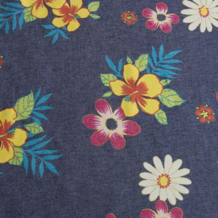 Metráž: Džínovina s květy - 70 cm