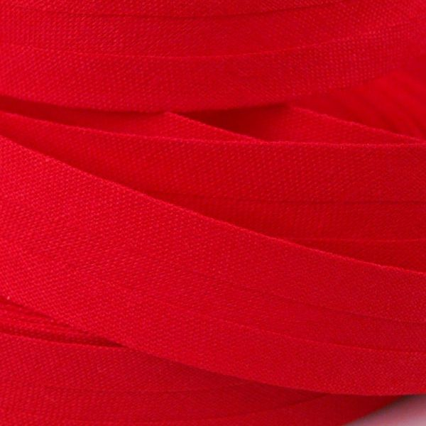Bavlněný šikmý proužek 14 mm - červená