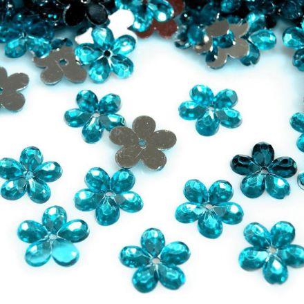 Galanterie: Plastová květina 11mm (50ks) - modrá