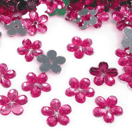 Galanterie: Plastová květina 11mm (50ks) - růžová