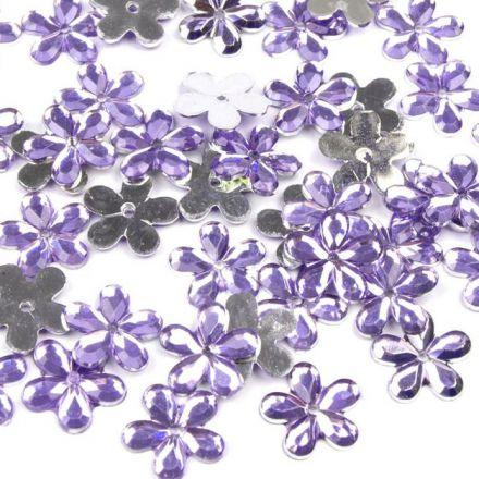 Galanterie: Plastová květina 11mm (50ks) - sv. fialová