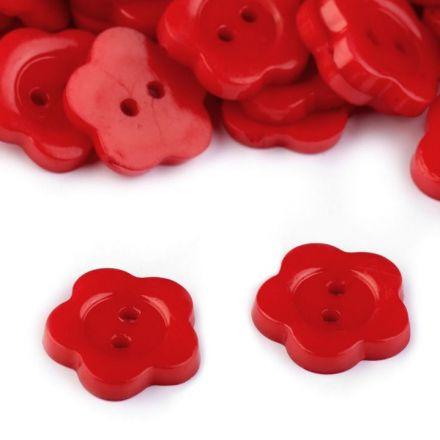 Galanterie: Knoflík květ 13,6 mm (1ks) - červená