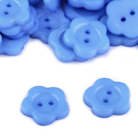 Galanterie: Knoflík květ 13,6 mm (1ks) - modrá