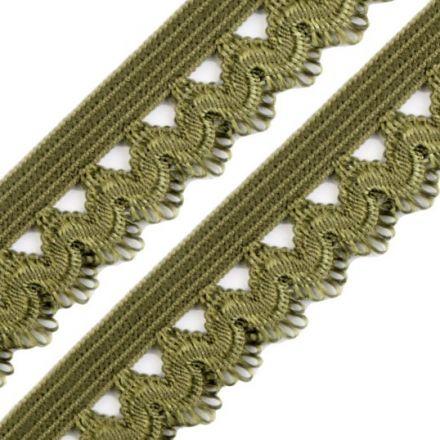 Galanterie: Ozdobná pruženka šíře 15 mm - khaki