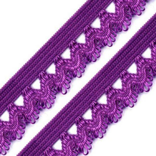 Ozdobná pruženka šíře 15 mm - fialová