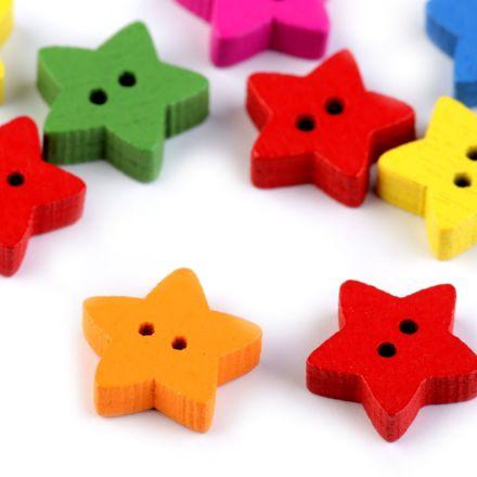 Galanterie: Knoflík dřevěný hvězda - 5 kusů