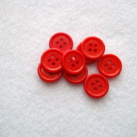 Galanterie: Knoflík plastový 15 mm - červená