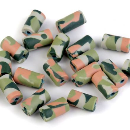 Galanterie: Fimo korálky army - 10 kusů