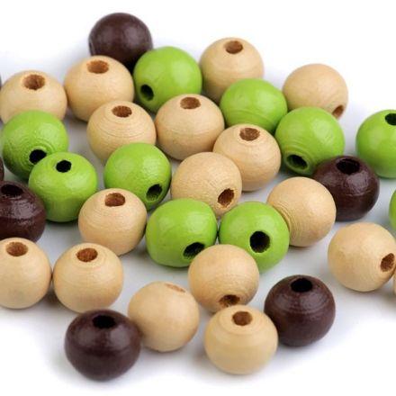 Galanterie: Dřevěné korálky - 60 kusů