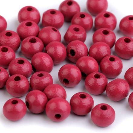 Galanterie: Dřevěné korálky - 60 kusů (růžová)