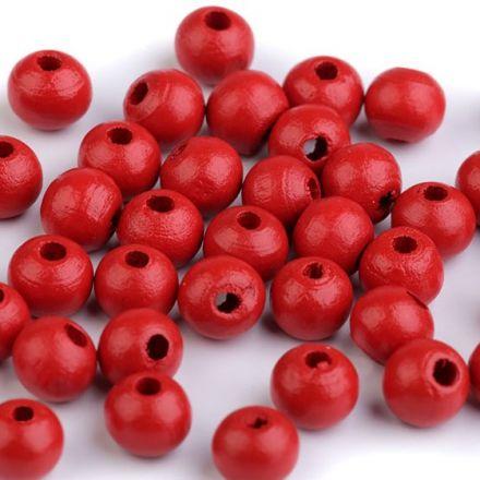 Galanterie: Dřevěné korálky - 60 kusů (červená)