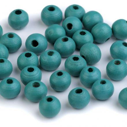 Galanterie: Dřevěné korálky - 60 kusů (mintová)