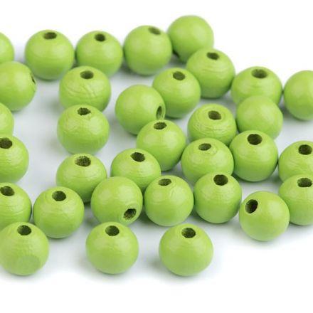 Galanterie: Dřevěné korálky - 60 kusů (zelená)