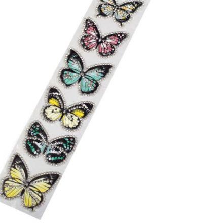 Galanterie: Aplikace motýl s kamínky (6ks)