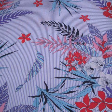 Metráž: Bavlna pruh s květy