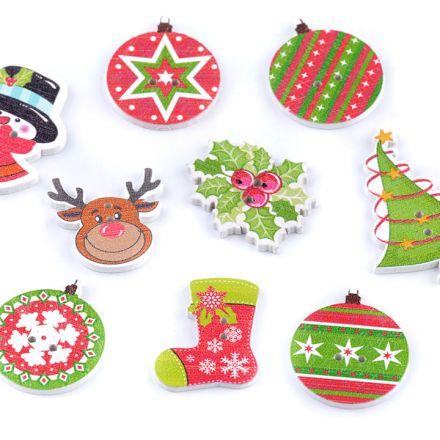 Galanterie: Dekorační vánoční knoflík (5ks)