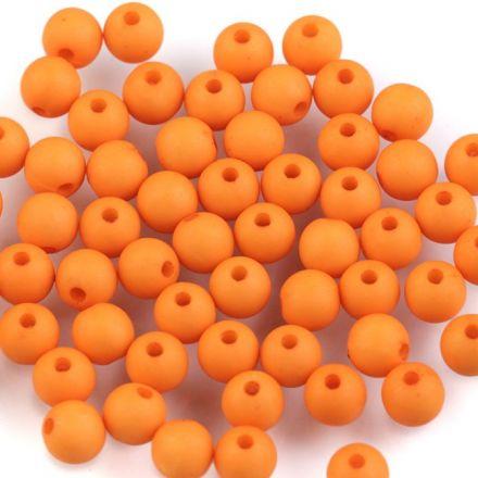 Galanterie: Plastové korálky 6mm (100ks) - oranžová