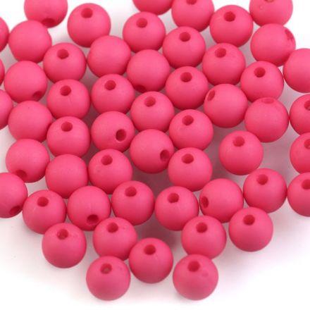 Galanterie: Plastové korálky 6mm (100ks) - tmavě růžová