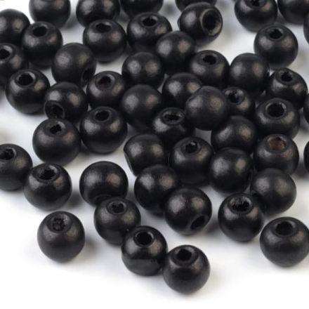 Galanterie: Dřevěné korálky 8-9mm (100ks)-černá