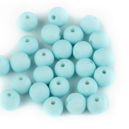 Galanterie: Plastové korálky 8mm (30ks) - tyrkysová