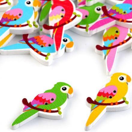 Galanterie: Dekorační knoflík papoušek (6ks)
