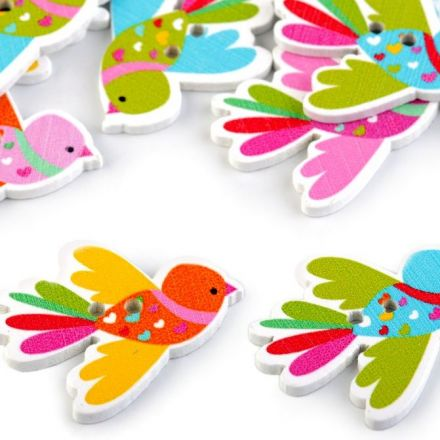Galanterie: Dekorační knoflík ptáček (4ks)