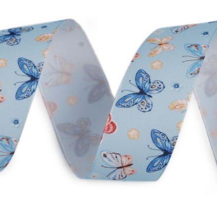 Galanterie: Saténová stuha s motýly (3m)