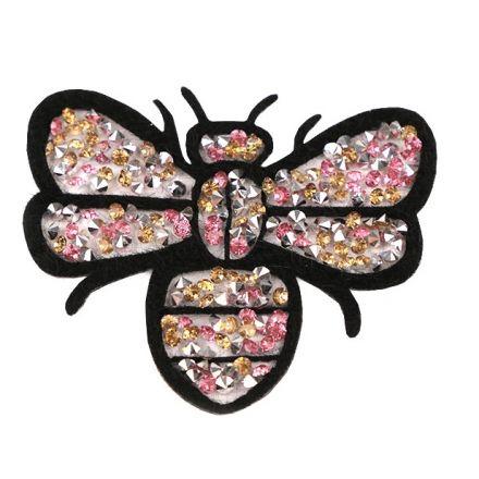 Galanterie: Nažehlovačka včela s kamínky 6x7cm
