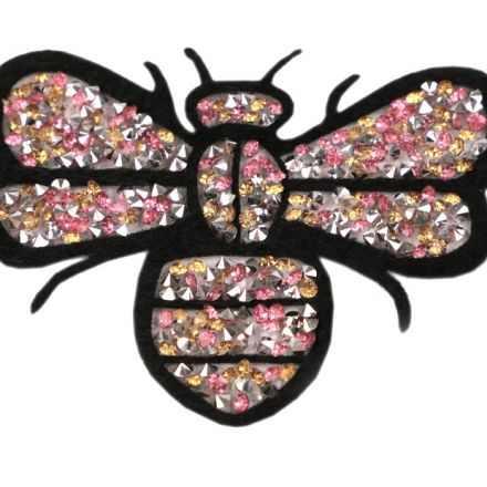 Galanterie: Nažehlovačka včela s kamínky 7x8cm