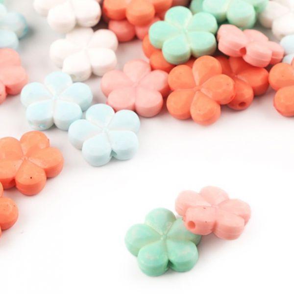 Dekorační plastový květ/korálek 14mm - (10ks)