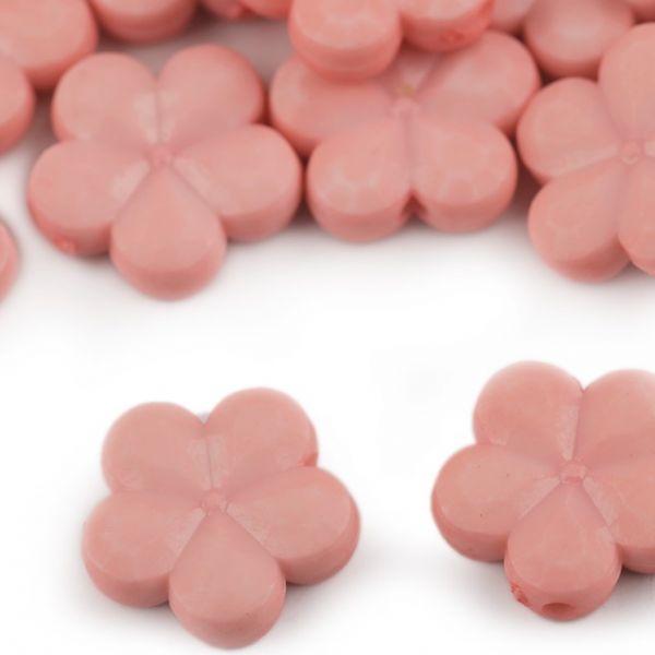 Dekorační plastový květ/korálek 14mm (10ks) - pudrová