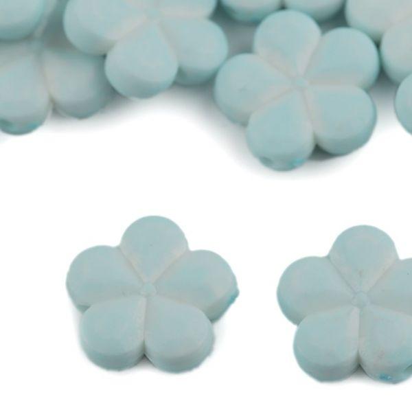 Dekorační plastový květ/korálek 14mm (10ks) - pomněnková