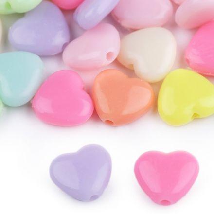 Galanterie: Plastové korálky srdce (50ks)