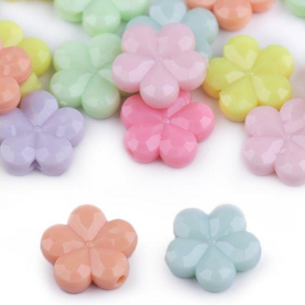 Plastové korálky květ (35ks)