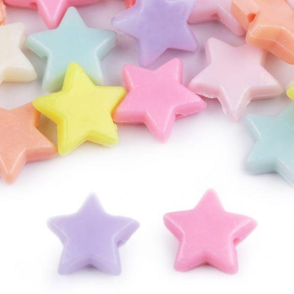 Plastové korálky hvězda (45ks)