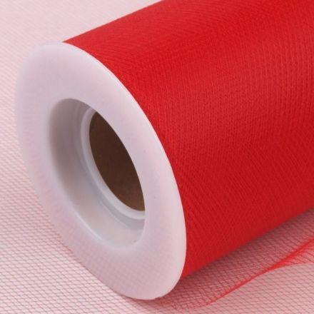 Galanterie: Tyl dekorační š.22,5cm - červená