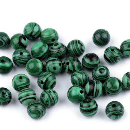 Galanterie: Minerálové korálky Malachit 8mm - (10ks)