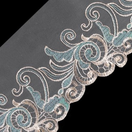 Galanterie: Vyšívaný prýmek na monofilu s lurexem šíře 18 cm
