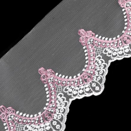 Galanterie: Vyšívaný prýmek na monofilu  šíře 17,5 cm