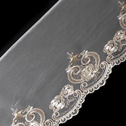 Galanterie: Vyšívaný prýmek na monofilu s lurexem šíře 19,5 cm