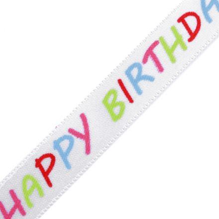 Galanterie: Saténová stuha Happy birthday šíře 14 mm