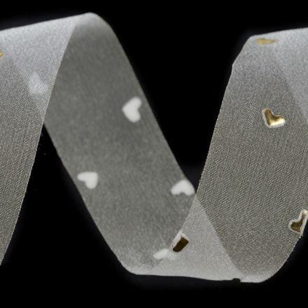 Galanterie: Monofilová stuha srdce šíře 25 mm
