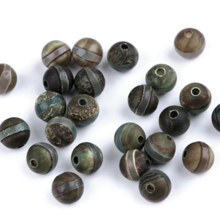 Galanterie: Minerálové korálky Tibetský achát 8 mm - (5ks)