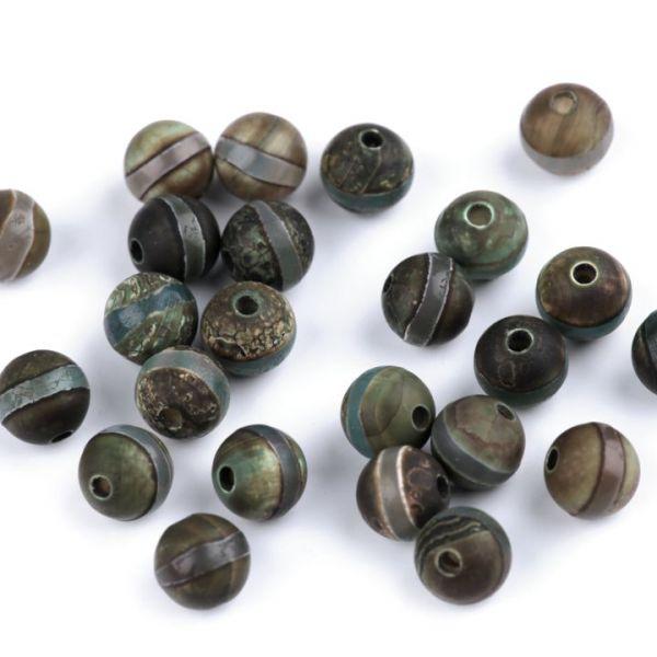 Minerálové korálky Tibetský achát 8 mm - (5ks)