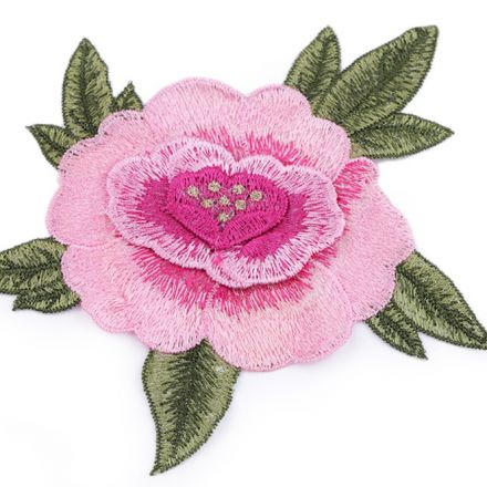 Galanterie: Vyšívaná aplikace růže 3D