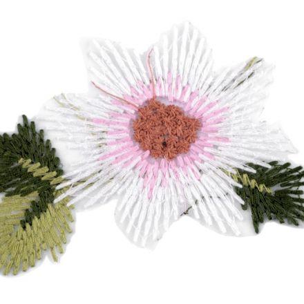 Galanterie: Vyšívaná aplikace květ na monofilu