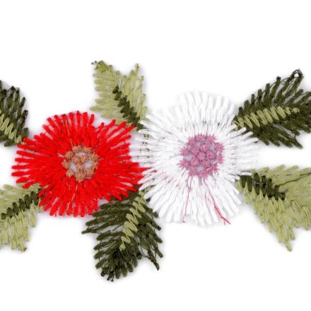 Galanterie: Vyšívaná aplikace květy na monofilu