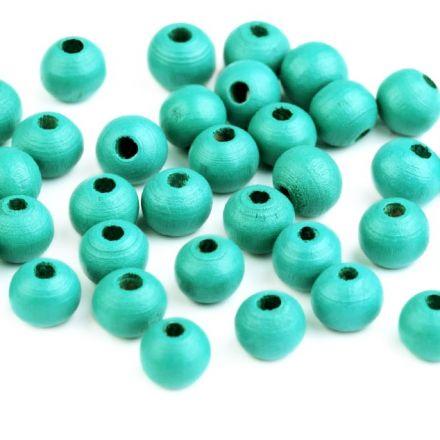 Galanterie: Dřevěné korálky 8 mm (60ks) - zelená pistáciová