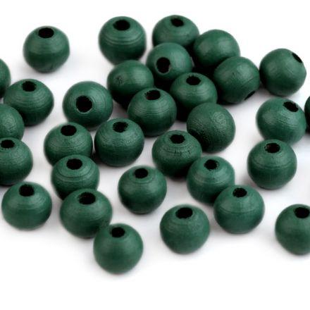 Galanterie: Dřevěné korálky 8 mm (60ks) - zelená