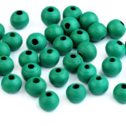 Galanterie: Dřevěné korálky 8 mm (60ks) - zelenomodrá